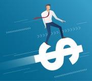 Езда бизнесмена на значке доллара и голубой предпосылке, векторе иллюстрации концепции дела Стоковые Изображения RF