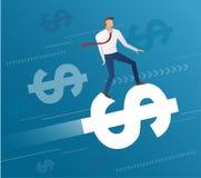 Езда бизнесмена на значке доллара и голубой предпосылке, векторе иллюстрации концепции дела Стоковая Фотография RF