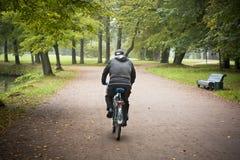 Езда велосипедиста в парке Стоковое Изображение
