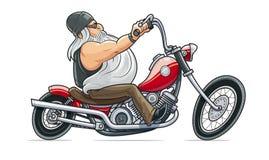 Езда велосипедиста на мотоцикле головка дерзких милых собак персонажа из мультфильма предпосылки счастливая изолировала белизну у иллюстрация вектора