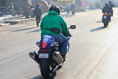 Езда Индия дня республики Ducati стоковая фотография rf