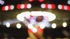Езда ночи торжества светов Carousel расплывчатая акции видеоматериалы