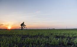 Езда человека велосипед в заходе солнца Ехать велосипед на заходе солнца уклад жизни принципиальной схемы здоровый Мужской велоси Стоковые Изображения RF