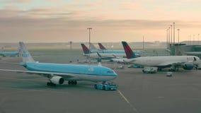 Ездить на такси полет KLM к терминалу в аэропорте Schiphol сток-видео