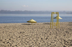 дезертированный пляж осени Стоковое Изображение RF