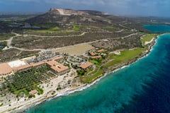 Езда вертолета - поле для гольфа и береговая линия Curacao Санта-Барбара Стоковое Фото