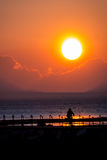 Езда велосипеда на заходе солнца Стоковое Фото