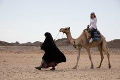 Езда женщины в положении пустыни верблюда Стоковое фото RF