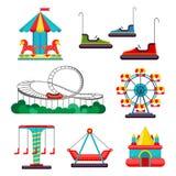 Езда парка атракционов Комплект привлекательностей вектор бесплатная иллюстрация