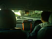 Езда утра водителя такси Бангкока Стоковое фото RF