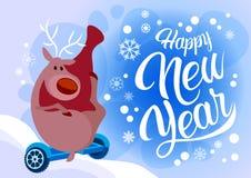 Езда хелпера Санты северного оленя электрическая завишет праздник Нового Года доски счастливый с Рождеством Христовым Стоковое Фото