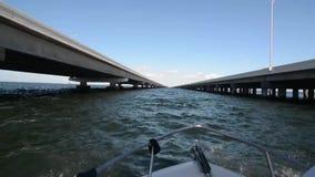 Езда шлюпки между мостами Тампа видеоматериал