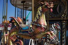 Езда carousel дракона морского конька Стоковое Изображение RF