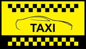 Ездите на такси символ, и автомобиль на предпосылке Стоковая Фотография RF