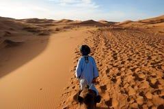 Езды верблюда в Сахаре Стоковое Изображение