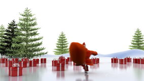 Езды Санта Клауса на коньках сток-видео
