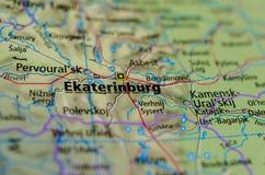 Екатеринбург на карте Стоковая Фотография RF