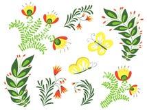 декоративные элементы флористические много установили Стоковые Фото