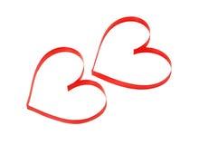 2 декоративных сердца на белой предпосылке Стоковая Фотография