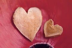 2 декоративных сердца на лепестках красного цвета мака Стоковое Изображение RF