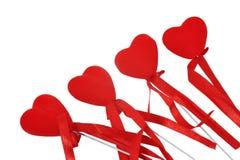 4 декоративных сердца с лентой Стоковые Фото