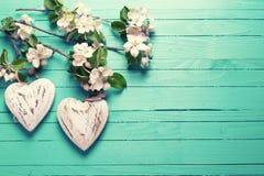 2 декоративных цветка сердца и яблони на бирюзе деревянной Стоковое Изображение RF