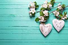 2 декоративных цветка сердца и яблони на бирюзе деревянной Стоковое Изображение
