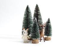 Ели и северный олень леса Стоковое Изображение