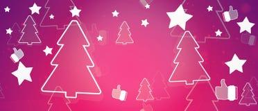 Ель и большие пальцы руки силуэта рождества зимы вверх по 3d-illustration иллюстрация штока