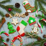 Ель конфеты пряника поздравительной открытки предпосылки Нового Года рождества Стоковые Изображения