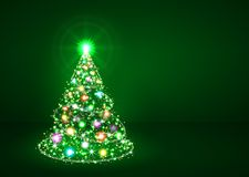 Ель рождества абстрактного мерцания яркая красочная иллюстрация вектора