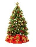 ель рождества близкая цветастая освещает вал вверх Стоковая Фотография