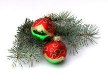 ель 2 ветви шариков Стоковое Фото