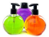 3 емкости с жидкостным мылом Стоковая Фотография RF