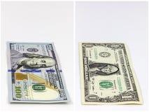 100 денег коллажа долларовой банкноты Стоковые Изображения