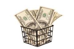 100 денег долларовых банкнот в корзине Стоковая Фотография RF