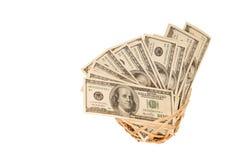 100 денег долларовых банкнот в корзине Стоковые Изображения RF