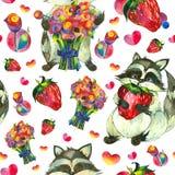 Еноты, клубники и цветки Стоковые Фотографии RF