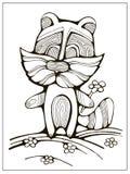 Енот шаржа с цветком; Uncolored иллюстрация страницы расцветки для детей Стоковые Изображения
