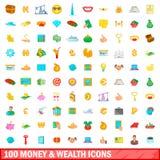 100 деньги и значков богатства установили, стиль шаржа Стоковое Изображение