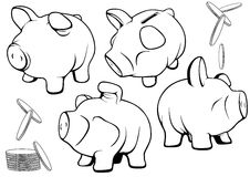 деньги иллюстрации принципиальной схемы банка piggy за исключением вектора комплекта Стоковые Фотографии RF