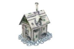 деньги дома владельцев дома цен принципиальной схемы заработанные изображением представляют Стоковое Фото