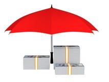 деньги 3d под зонтиком Стоковая Фотография RF