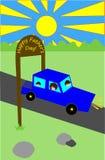 день будет отцом счастливого Семья в автомобиле Стоковое Изображение