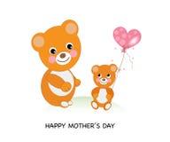 день карточки приветствуя счастливую мать s Милые медведи празднуя День матери иллюстрация вектора