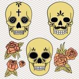 день мертвый Комплект черепов также вектор иллюстрации притяжки corel Стоковое Изображение RF