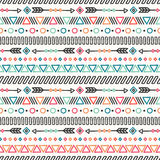 день мертвый Племенной линия нарисованная рукой мексиканская этническая безшовная картина граница оборачивать вектора темы бумаги Стоковое фото RF