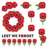день памяти погибших в первую и вторую мировые войны маков элементов красное Стоковое Фото