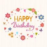 день рождения счастливый Яркий и стильный текст вектора на backgr прокладки Стоковые Фотографии RF