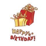 день рождения счастливый vector подарочная коробка изображения с лентой и обхватывайте на белой предпосылке Стоковые Фото